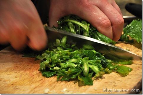 Chopping rapini