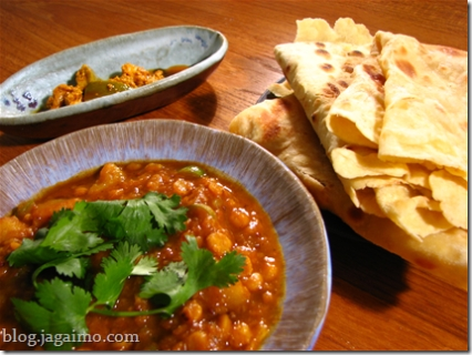 A simple dinner with besan roti and channa dal