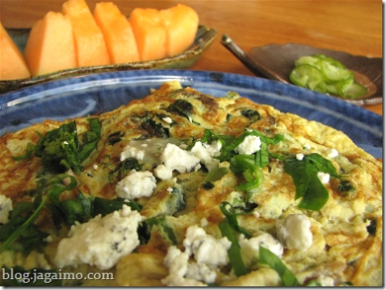 Spring frittata with ramps, early morels and blanched rapini