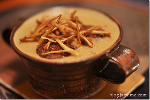 Roasted gobo soup with burdock ganmodoki