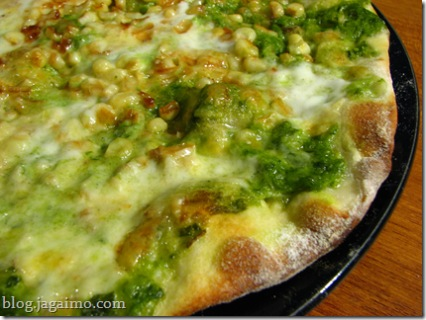 Mizuna pesto pizza with butter-shouyu corn