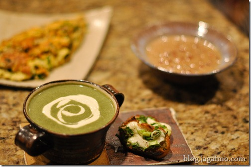 Dinner: nettle soup, ramp and morel omelet, coconut blackeye peas