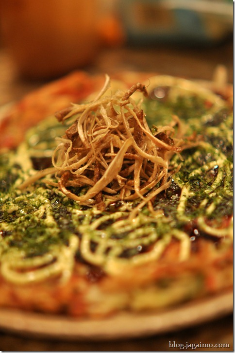 Okonomiyaki with gobo, kizami ginger and cheese