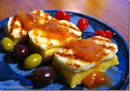 Polenta, grilled halloumi cheese, apricot sauce