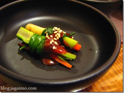 Scallion wrapped vegetables with gochujang