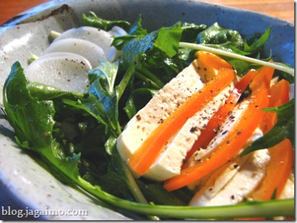 Tofu, mizuna and kabu salad with miso dressing