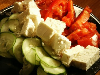 Feta, cucumber, and tomato