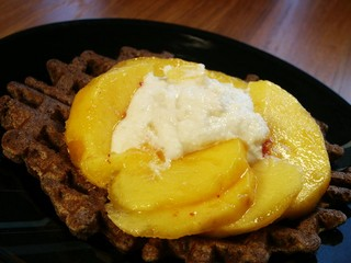 Soba waffle with peach ricotta